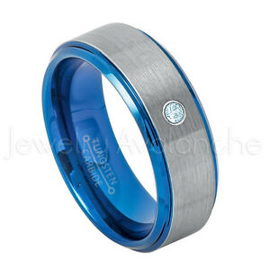 Blue Tungsten Ring, 0.07ct Topaz Solitaire Ring,November Birthstone Ring #744