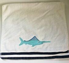 Pottery Barn Kids Sword Fish Hand Towel White Blue