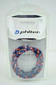 "Phiten - Tornado Titanium Necklace 18"" Nylon - Blue & Red/Maroon (New)"
