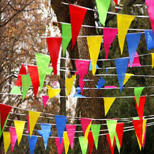 80M Festival Banner Triangle Decor String Flag Bunting 50m Party Rainbow Outdoor