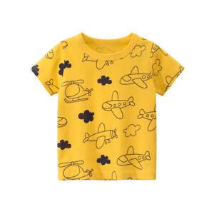 Short Sleeve Boys Aircraft T-shirt Girls Collarless Tee Shirt Kids Top Cotton ^