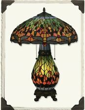 Victorian Trading Co Dragon Fly Tiffany Style Stained Glass Table Lamp