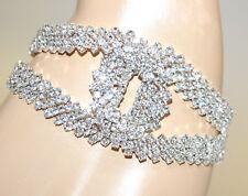 PULSERA mujer plata strass cristales pulsera de boda elegante ceremonia G35