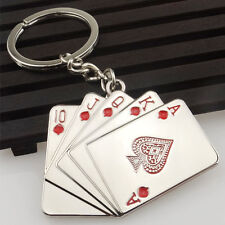 Casino Poker Playing Cards Silver Metal Keyring Key Chain Novelty Gift Present