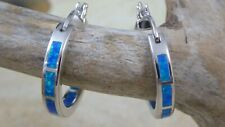 REAL STERLING SILVER 15 MM HOOP EARRINGS WITH INLAY BLUE OPAL INSIDE AND OUT