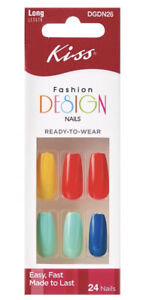 Kiss FASHION DESIGN Long Length Colorful Full Cover Coffin Style Nails DGDN26