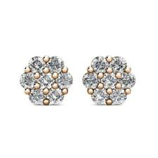 1.50Ct Round Simulated Diamond Flower Cluster Stud Earrings 14K Rose Gold