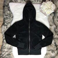 ROXY -Size L- Women's Fleece Sweatshirt Hoodie Full Zip Long Sleeve Black Furry