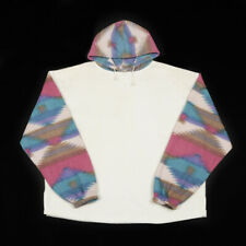 Vintage Aztec Pattern Fleece Hoodie    XL   Top Ski Hood Pullover Jumper Retro