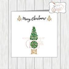 Masonic Christmas Card Masons Compass Symbol Xmas Tree
