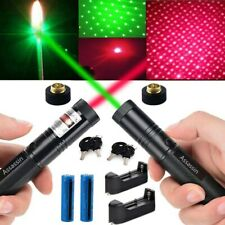 2Pcs 500Miles Astronomy Lazer 650nm Red+532nm Green Star Cap Laser Pen+Batt+Char