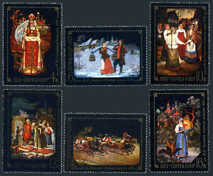 Russia 4554-4559, MNH. Folk tale paintings from Fedoskino Artists' colony, 1977