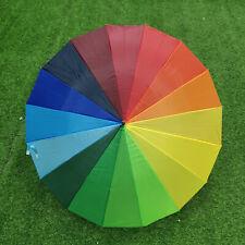 16 Ribs Large Rainbow Umbrella Fashion Long Curved Hook Handle Anti UV Sun Rain