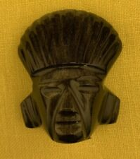 VINTAGE MEXICAN AZTEC GOD/IDOL CARVED OBSIDIAN WITH GREEN & GOLD SHEEN