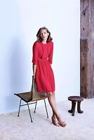 NEW NWT $349 Country Road TRENERY Pure Silk Cerise Gathered DRESS - Lined