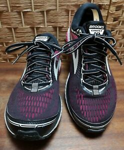 Brooks Ghost 10 DNA Cushion Size 7 Wide Black and Pink