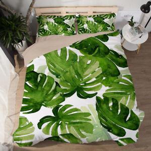 3D Chic tropical palmleaf print bedding set Quilt cover Pillowcase Single/Double