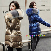 Women Shiny Parka Jacket Fur Hooded Cotton Wadded Quilted Down Coat Long Outwear