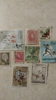 Vintage Lot of 9 Postage Stamps International Foreign