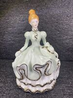 """Vintage Ceramic Victorian Lady ~Pale Green~Gold Trimmed~ Musical Figurine ~ 10"""""""