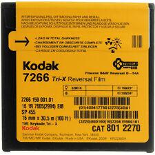 Kodak Super 16mm B&W Tri X Reversal 7266 Single perf film 100' daylight spool