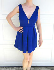 Windsor Cobalt Blue Mini Skater Dress Party Sexy Low Back Womans Size Small