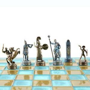 Manopoulos Greek Mythology Chess Set - Blue Copper Pawns - Blue oxidized Board
