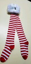 CLAIRE CANDYCANE THIGH Stockings Fuzzy Top Socks Christmas Red White Stripes Elf
