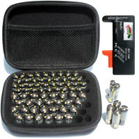 AA AAA battery organizer storage case with battery tester/checker
