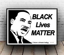 Black lives matter (Monotone) :  Words & Martin Luther King artwork, Poster