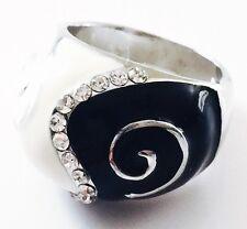 USA RING Rhinestone Crystal Fashion Gemstone Silver Black White SIZE-8 a3