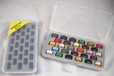 Bobbin Box Organizer 28 Bobbins Slots Case Sewing Thread Storage Clear Set of 2