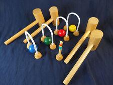 Carpet Croquet Game  - Wooden Balls, Mallets - natural materials - indoor