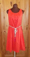 MONSOON coral orange floral sleeveless midi knee summer holiday sun dress 8 36