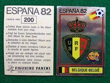 ESPANA 82 n 200 BELGIO SCUDETTO BADGE , Figurina Sticker Calciatori Panini NEW