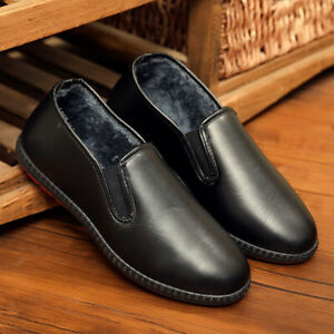 Mens Casual Pu Leather Fleece Lined Shoes Winter Warm Waterproof Loafers Flats