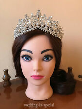 High Quality Silver Tiara Crystal Crown Wedding Bridal Hair Party Prom Accessory