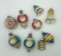 9 Vtg Shiny Brite Mercury Glass Indent Bumpy Bell Christmas Lantern Ornament Lot