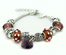 Purple Murano Glass Bracelet Heart Crystal Brass Charm Bangle Infinity Bead Girl