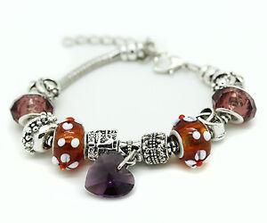 Purple Murano Glass Bracelet Heart Crystal Brass Charm Bangle Infinity Bead Girl