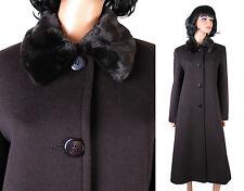 Cashmere Wool Coat Sz 8 M Worthington Dark Brown Long Jacket Faux Fur Collar