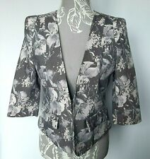 Ladies Jacket UK S Gray Floral Cotton Fitted Crop 3/4 Length Sleeve Retro 80s