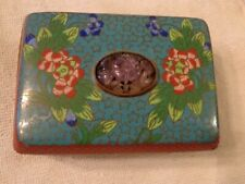 Antique China Multi-Color Cloisonne Trinket Box W/ Carved Amethyst Lotus Flower