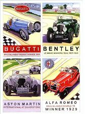 Bugatti  Bentley Aston Martin Alfa Romeo Motor Sport  Art  blank Greeting Card