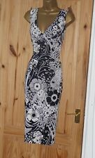 Phase Eight black cream floral stretch pencil wiggle evening party dress size 12