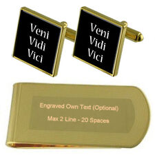 Veni Vidi Vici Latin Gold-Tone Cufflinks Money Clip Engraved Gift Set