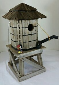 """Nice Handmade One of a Kind Wood Wooden Water Tower Rustic Bird House 13"""""""