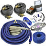 100% OFC True 4 Gauge Amp Wiring Kit Pure Copper Complete Amplifier Install Blue
