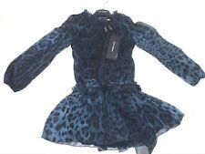 D&G New Girls Kids SILK LEOPARD PRINT DRESS w/ SILK BELT Sz: 10 RTL: $570 P475