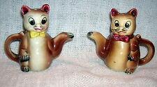 Vintage Brown Teapot Cat Salt & Pepper Shakers